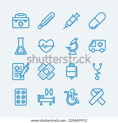Medical line icons.Vector EPS10 - stock vector
