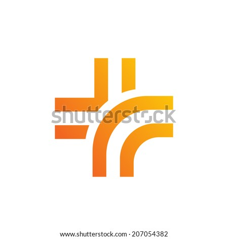 Medical logo design template icon with cross. Vector color sign with plus symbol. - stock vector