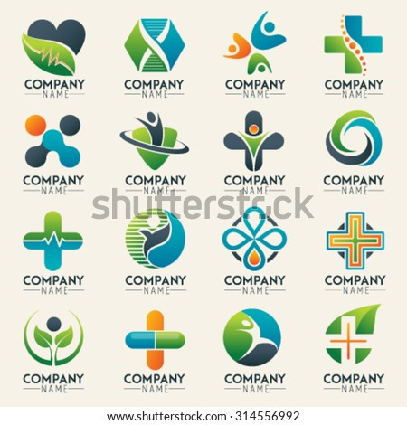 Medical logo icons set. Icons for medicine, healthcare, pharmacy, veterinarian, dentist. Easy editable for Your design - stock vector
