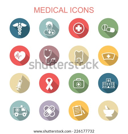 medical long shadow icons, flat vector symbols - stock vector