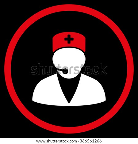 Medical Manager vector icon. Style is bicolor flat circled symbol, red and white colors, rounded angles, black background. - stock vector