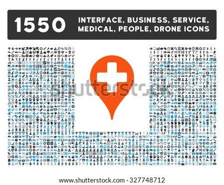 Medical Map Marker and other web interface, business tools, people poses, medical service vector icons. Style is flat symbols, bicolored, rounded angles, white background. - stock vector