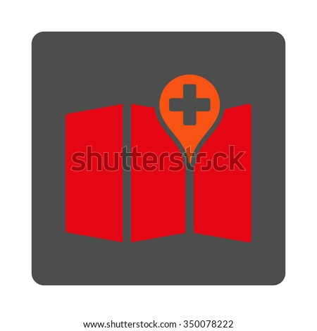 Medical Map vector icon. Style is flat rounded square silver button with red symbol, white background.