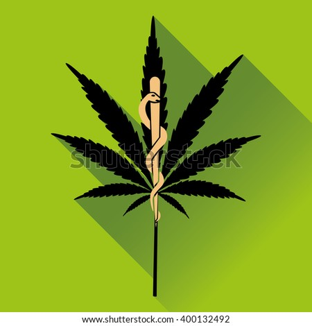 Medical marihuana new logo, icon. Flat design vector illustration - stock vector