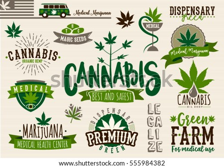 Medical Marijuana Product Label Logo Graphic Stock Vector