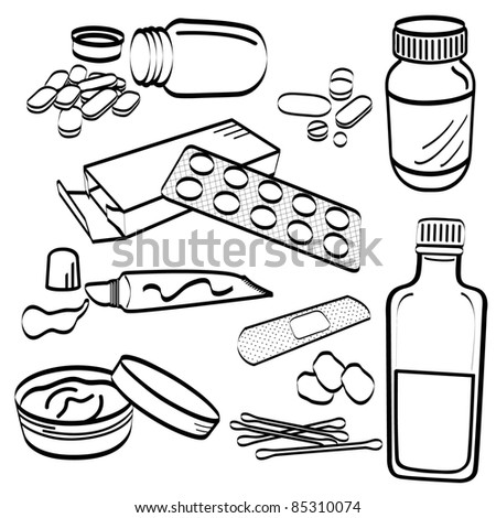 Medical Medicine Tablet Pill Cream Cotton Bud Cough Syrup Ointment Tube Gel Plaster Doodle - stock vector