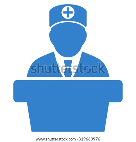 Medical Official Lecture vector icon. Style is flat symbol, cobalt color, rounded angles, white background.