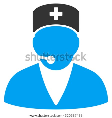 Medical Operator vector icon. Style is bicolor flat symbol, blue and gray colors, rounded angles, white background.