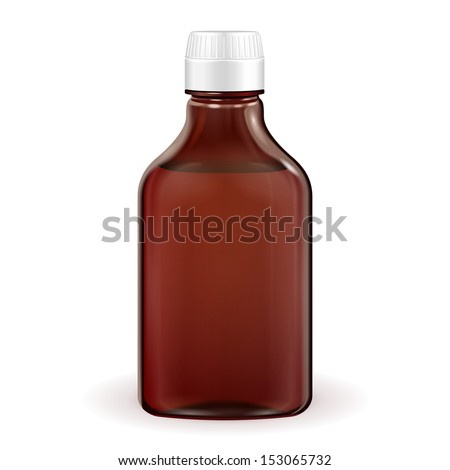 Medical Or Alcohol Glass Brown Bottle On White Background Isolated. Ready For Your Design. Product Packing. Vector EPS10