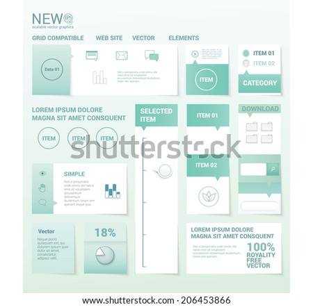 Medical or business color concept web or brochure graphics set elements - stock vector