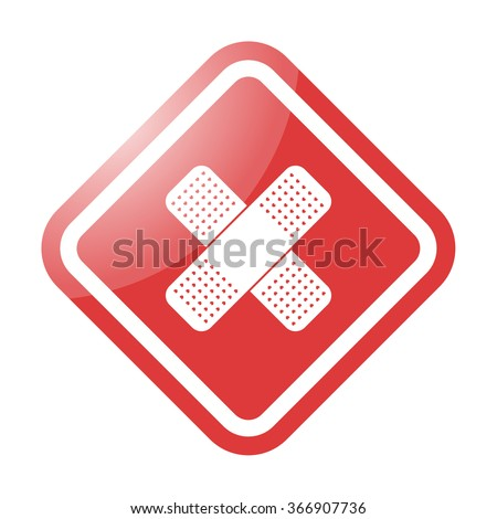 Medical patch simple icon on colorful background - stock vector