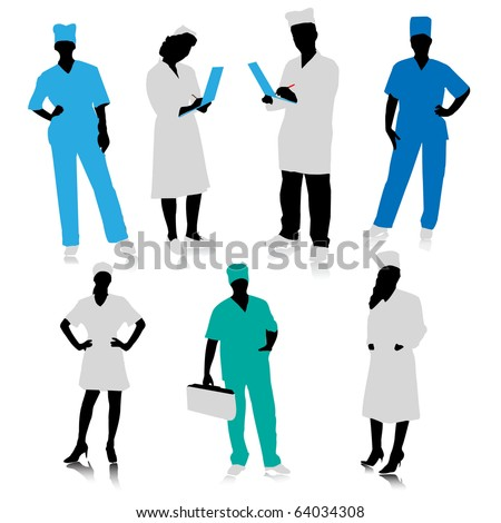Medical people silhouettes - stock vector