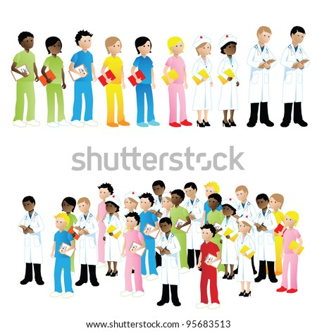 medical people with stethoscopes. Doctors and nurses - stock vector