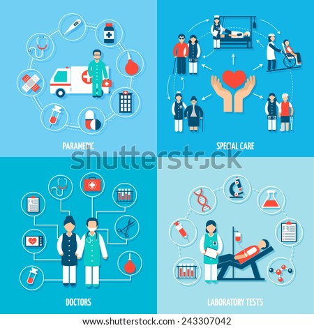 Medical personnel set with paramedic special care doctors and laboratory tests isolated vector illustration - stock vector