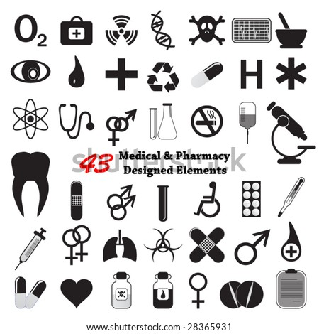 Medical & Pharmacy designed elements - stock vector