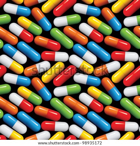 Medical pills seamless pattern, medicine vector background. - stock vector