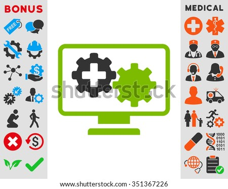 Medical Process Monitoring vector icon. Style is bicolor flat symbol, eco green and gray colors, rounded angles, white background.