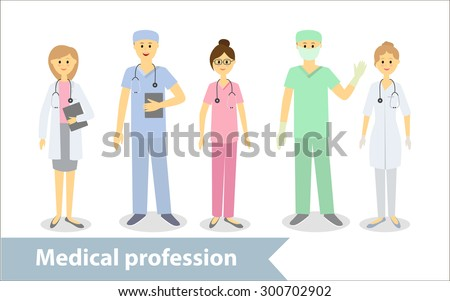 Medical profession. Doctors and medical staff. Set of characters in cartoon style - stock vector