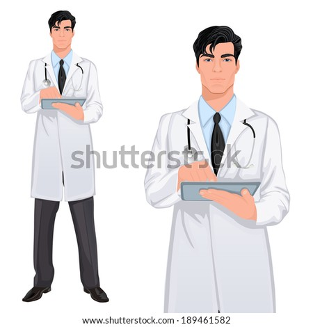 Medical professional handsome young doctor assistant standing in white lab coat with touch screen tablet PC vector illustration - stock vector