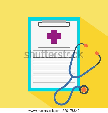 Medical record icons with stethoscope flat design - stock vector