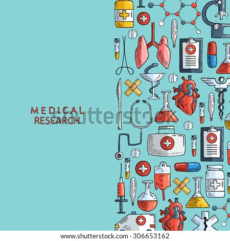 Medical research. Hand drawn health care and medicine background. Vector illustration. - stock vector