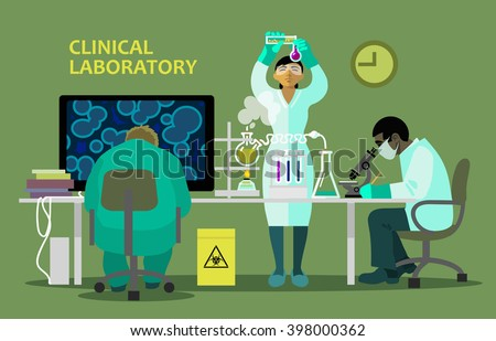 Medical Scientists, Laboratory Research chemistry equipment microscope computer bio hasard - stock vector