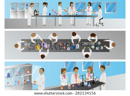 Medical Scientists - Laboratory Research, Different Situations Set - Vector Illustration, Graphic Design Editable For Your Design - stock vector