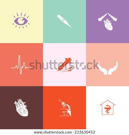 Medical set. Flat color vector icons. - stock vector