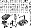 Medical set of black sketch. Part 101-1. Isolated groups and layers. - stock vector