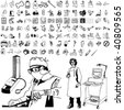 Medical set of black sketch. Part 101-6. Isolated groups and layers. - stock vector