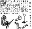 Medical set of black sketch. Part 102-9. Isolated groups and layers. - stock vector