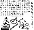 Medical set of black sketch. Part 103-7. Isolated groups and layers. - stock vector