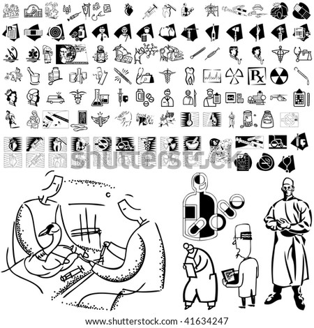 Medical set of black sketch. Part 103-5. Isolated groups and layers. - stock vector
