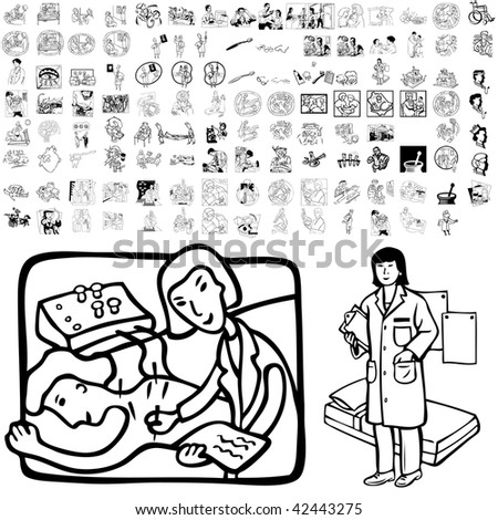 Medical set of black sketch. Part 105-2. Isolated groups and layers. - stock vector