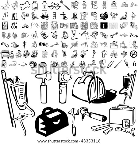 Medical set of black sketch. Part 106-6. Isolated groups and layers. - stock vector