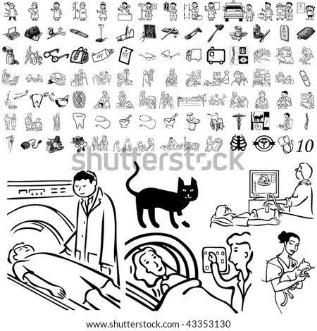 Medical set of black sketch. Part 106-10. Isolated groups and layers. - stock vector