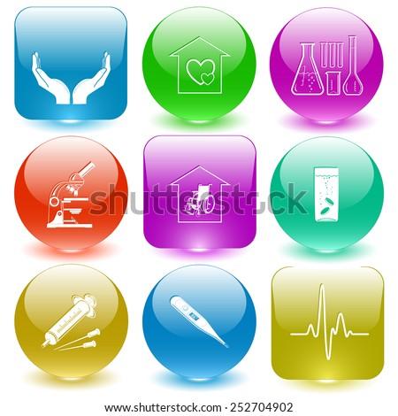 Medical set. Vector set glass buttons. - stock vector