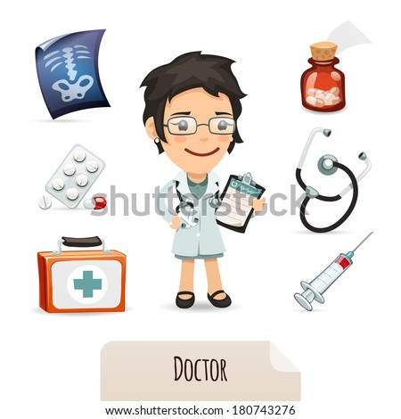 Medical set with a female doctor. In the EPS file, each element is grouped separately. Isolated on white background. - stock vector