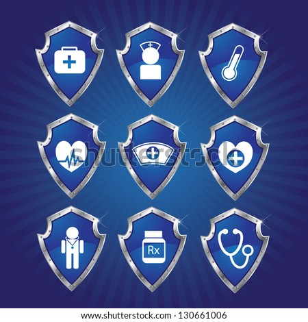 Medical Shields. EPS 8 vector, no open shapes or paths. Grouped for easy editing. - stock vector