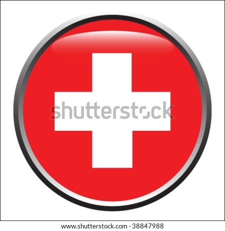 Medical sign in glossy button vector - stock vector