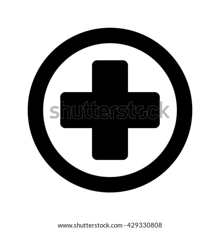 Medical Sign Plus Round Icon Black Stock Vector 429330808 Shutterstock