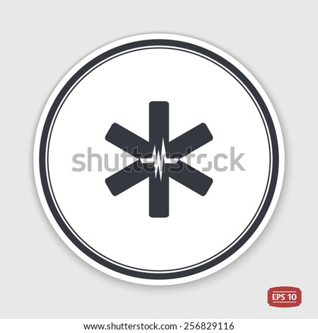 Medical sign with the pulse. Flat design style. Made in vector.  - stock vector