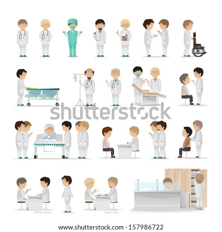 Medical Staff - Isolated On White Background - Vector Illustration, Graphic Design Editable For Your Design - stock vector