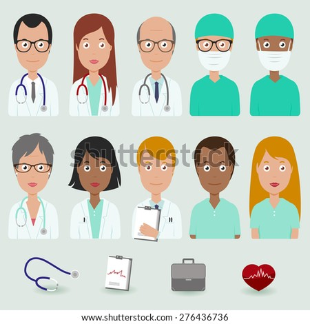 Medical staff people icons. Vector illustration set of a multicultural group of male and female medical workers.