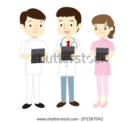 Medical staff that are using the tablet terminal - stock vector