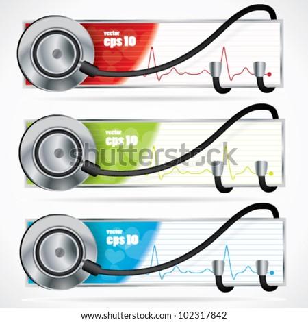 Medical stethoscope banner set - stock vector