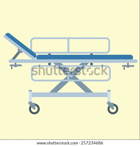 Medical stretcher bed on wheels - stock vector