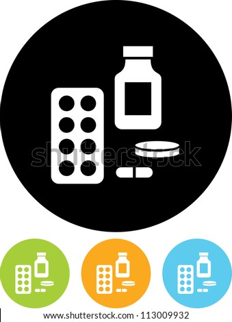 Medical supplies at drugstore - Vector icon isolated - stock vector