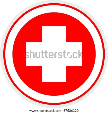 Medical symbol circle with a cross in the center - stock vector
