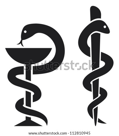 Medical Symbol Emblem Drugstore Snake Bowl Stockvector 112810945
